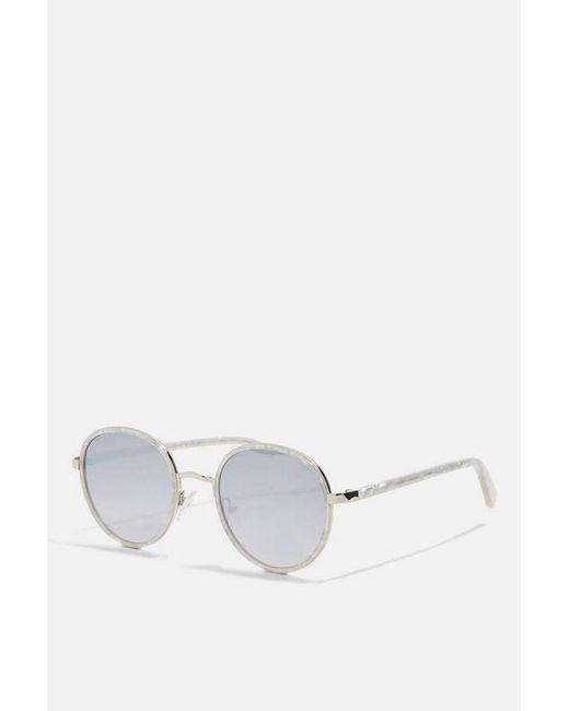 TOPSHOP - White Premium Acetate Preppy Sunglasses - Lyst