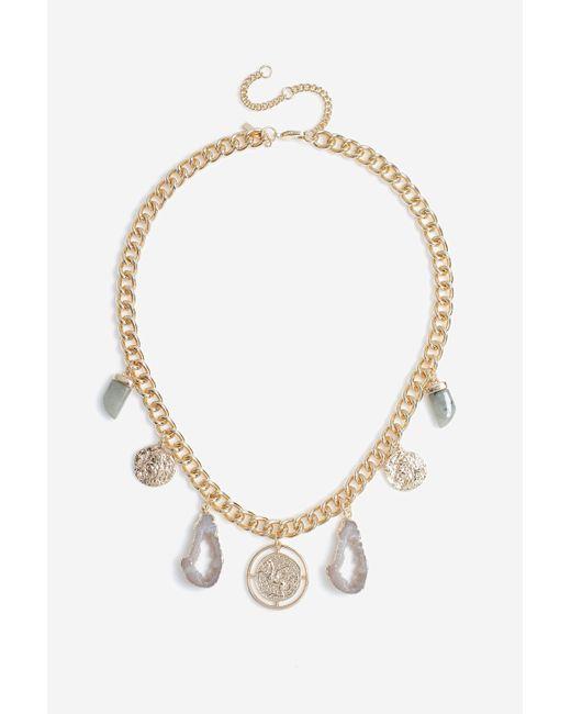TOPSHOP Metallic Slice Horn Stone Collar Necklace