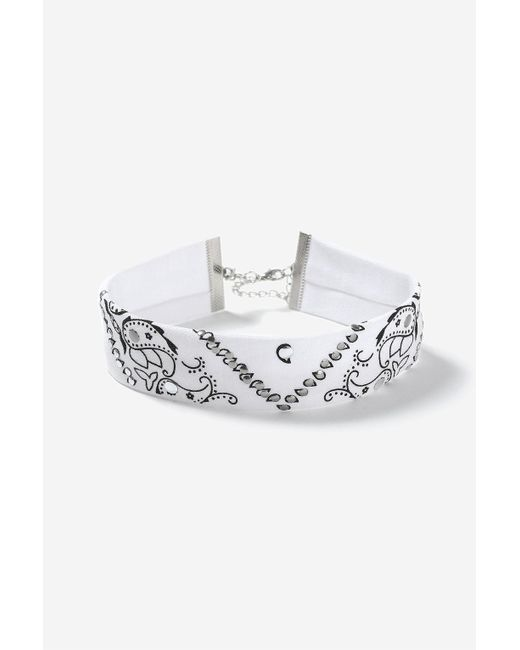 TOPSHOP | White Paisley Print Fabric Choker Necklace | Lyst
