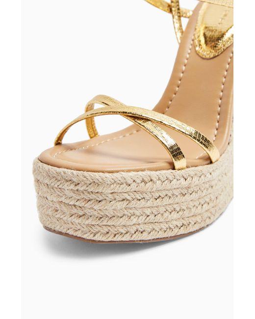 Willa Gold Wedge Sandals in Metallic