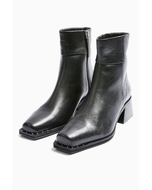 TOPSHOP Black Ystic Leathersquare Toe Boots