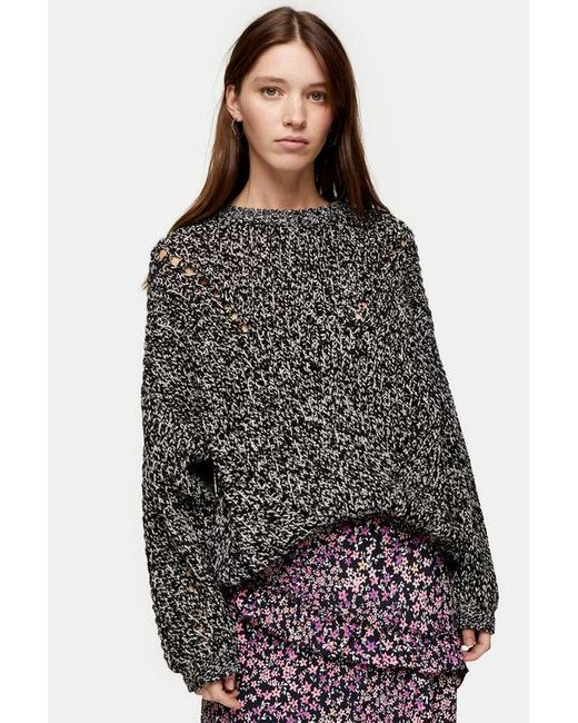 TOPSHOP Black Consideredknitted Sweater With Recycled Polyester