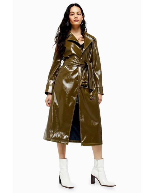 TOPSHOP Green Contrast Faux Leather Vinyl Trench