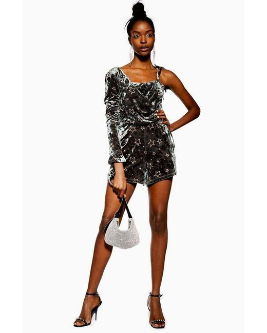TOPSHOP Black Tall Star Velvet One Shoulder Playsuit