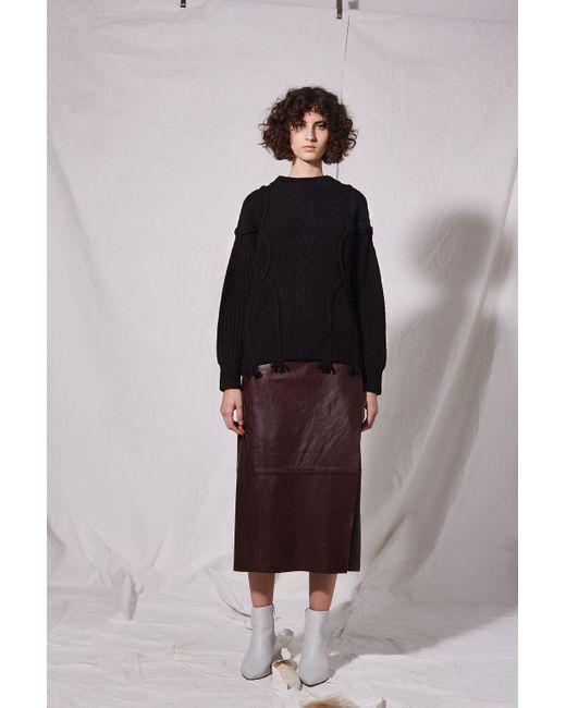 TOPSHOP | Black Plaited Cable Knit Jumper By Boutique | Lyst