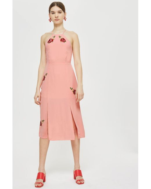 TOPSHOP - Pink Tall Embroidered Slip Midi Dress - Lyst