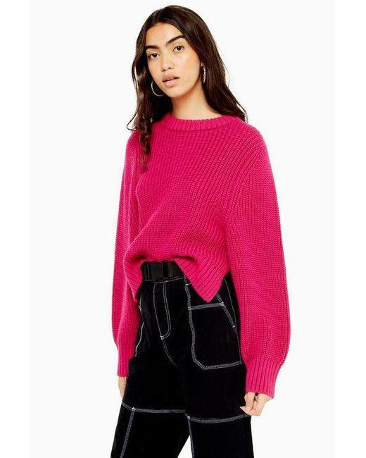 TOPSHOP Pink Rib Knit Sweater