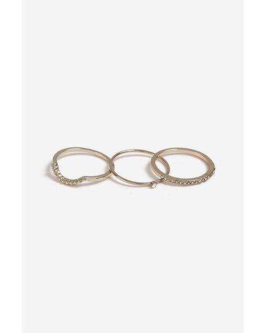 TOPSHOP - Metallic finer Stack 3 Pack Ring Set - Lyst