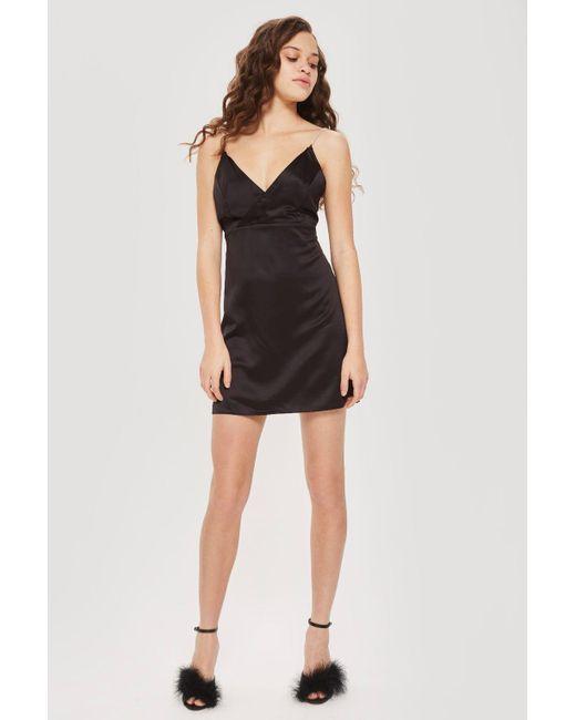 TOPSHOP - Black Diamante Strap Slip Dress - Lyst