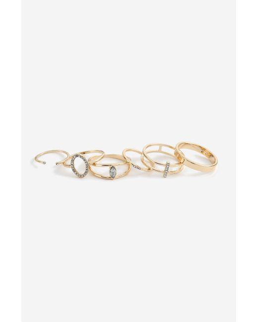 TOPSHOP - Metallic rhinestone Geometric Ring Pack - Lyst