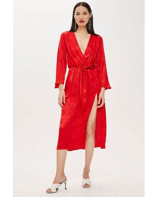 0374dc7c8772 Topshop Petite Snake Jacquard Knot Midi Dress in Red - Save ...