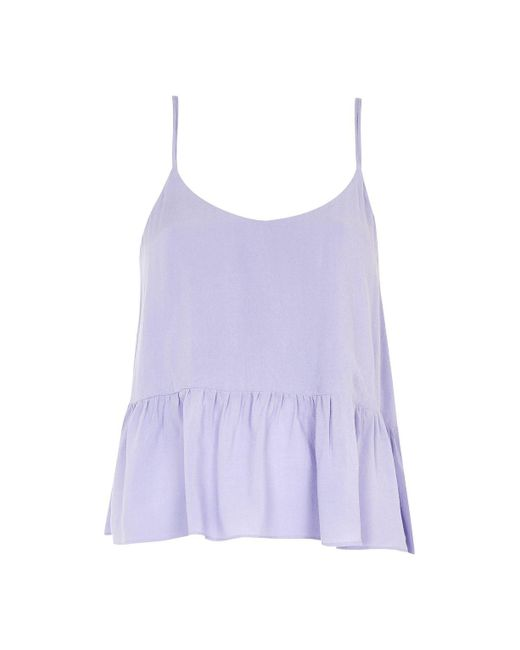 TOPSHOP | Purple Casual Peplum Camisole Top | Lyst