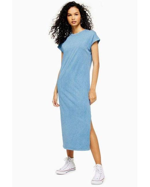 99cd6b8c16ae TOPSHOP - Blue Acid Wash Midi Dress - Lyst ...