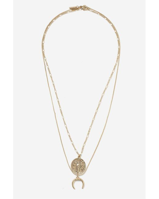 TOPSHOP | Metallic Coin And Horn Two Row Necklace | Lyst