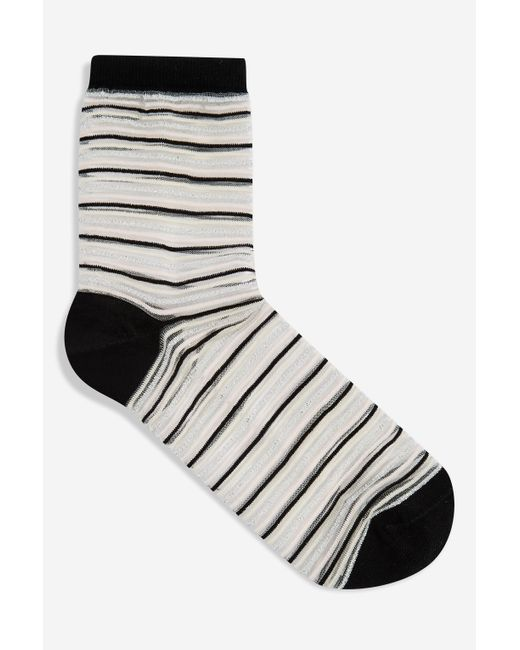 TOPSHOP Multicolor Sheer Glitter Stripe Socks