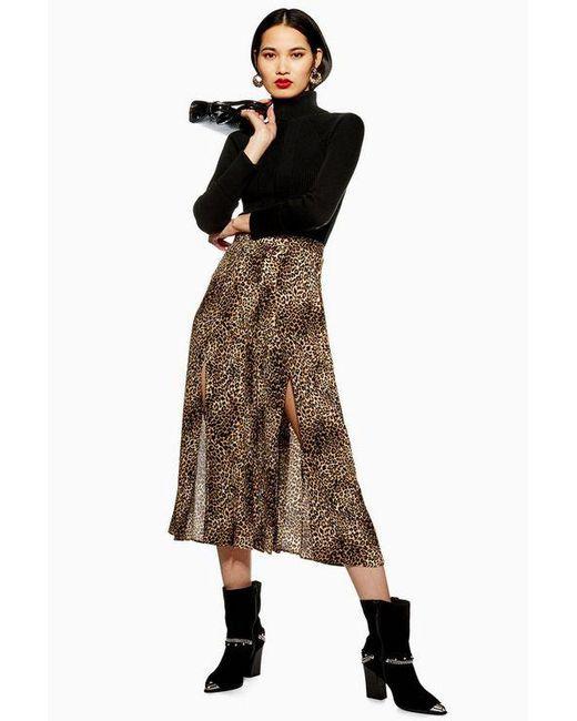 f910ec88c8 TOPSHOP - Brown Tall Leopard Midi Pleat Skirt - Lyst ...
