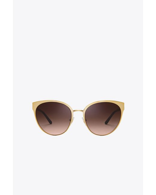 Tory Burch - Brown Logo Pilot Sunglasses - Lyst