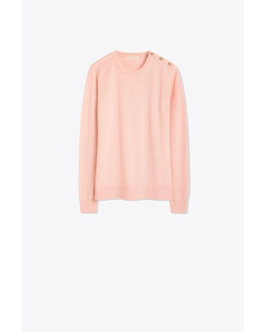 Tory Burch Pink Logo-button Sweater