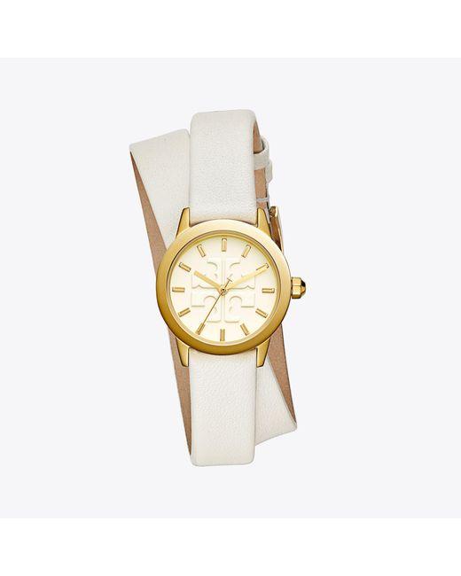 Tory Burch - Metallic Gigi Double-wrap Watch, Ivory Leather/gold-tone, 28 Mm - Lyst
