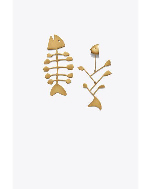 Tory Burch - Metallic Fish Mismatched Earring - Lyst