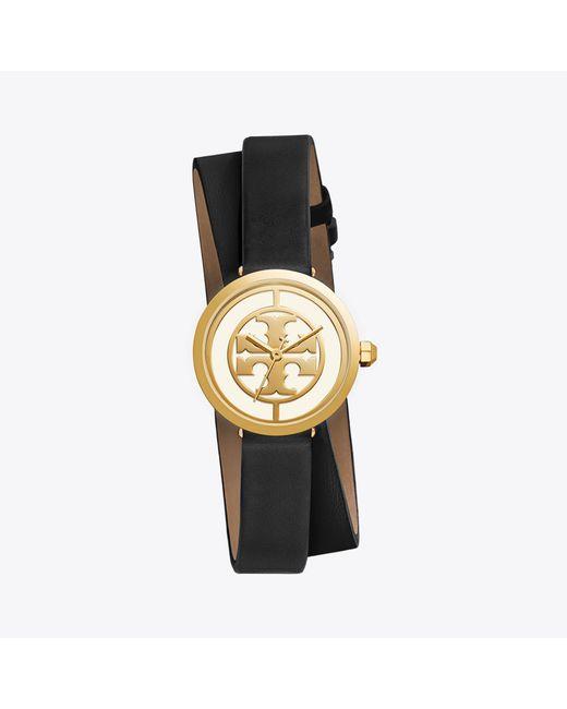 Tory Burch | Metallic Reva Double-wrap Watch, Black Leather/gold-tone, 28 Mm | Lyst