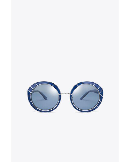 Tory Burch - Blue Metal-trim Round Sunglasses - Lyst