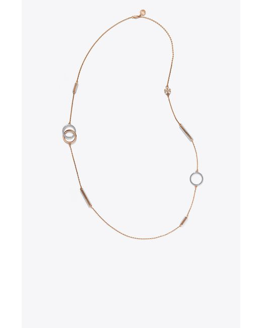 Tory Burch - Metallic Stretched-t Logo Rosary - Lyst