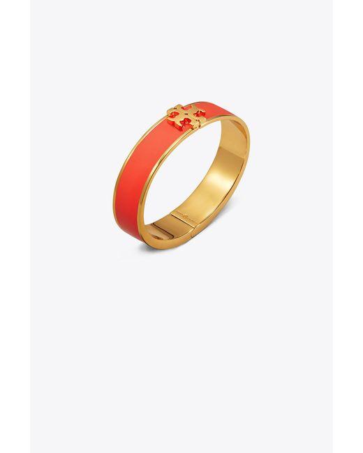 Tory Burch - Orange Enameled Raised-logo Hinged Bracelet - Lyst