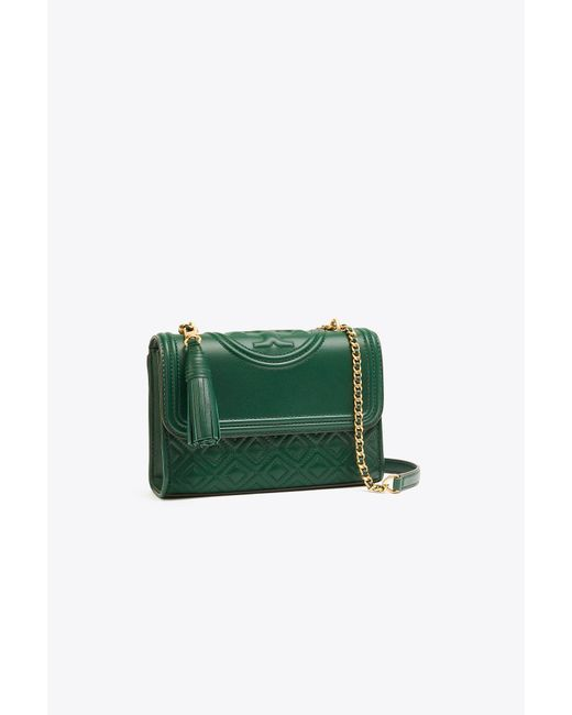 Tory Burch Green Fleming Quilted Lambskin Leather Convertible Shoulder Bag
