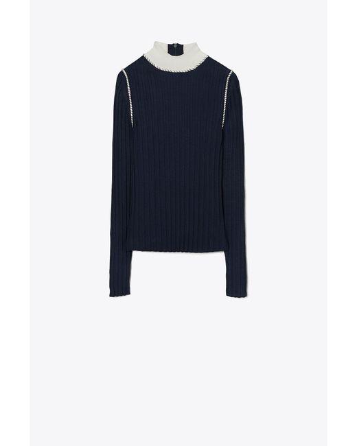 Tory Burch Blue Mock Neck Sweater