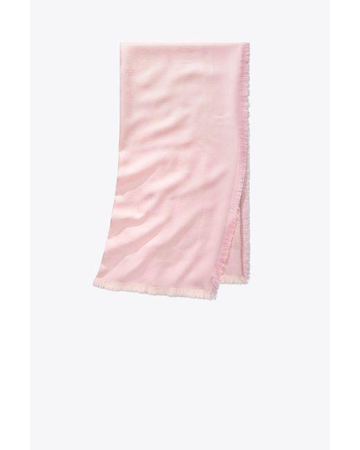 Tory Burch - Pink Logo Jacquard Traveler Scarf - Lyst