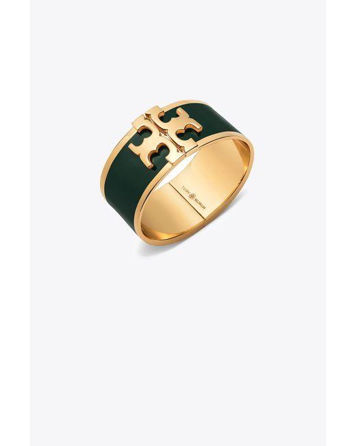 Tory Burch | Metallic Enamel Raised Logo Wide Cuff | Lyst