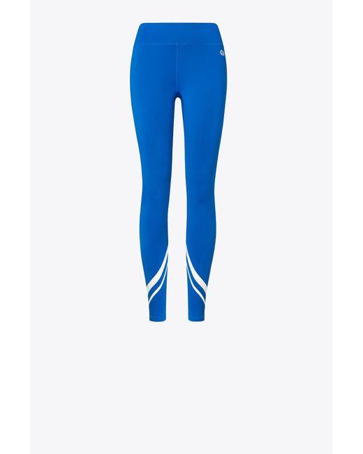 Tory Sport - Blue Striped Stretch-tactel Leggings - Lyst