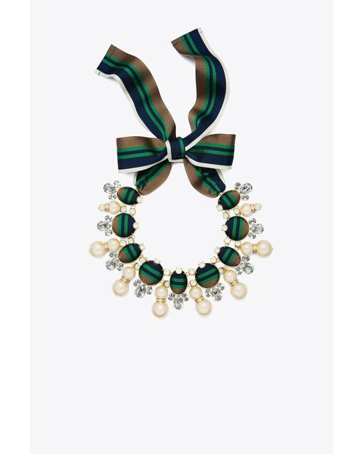 Tory Burch - Green Ribbon Pearl Statement Necklace - Lyst