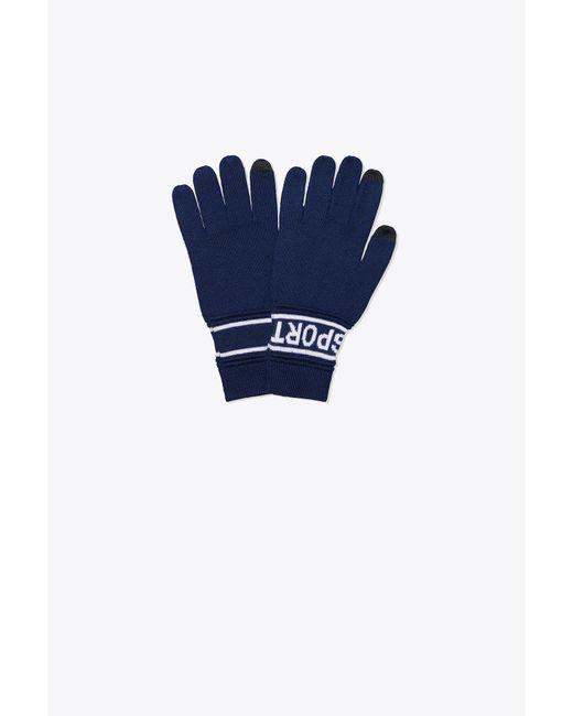 Tory Sport - Blue Tory Burch Merino Banner Tech Gloves - Lyst