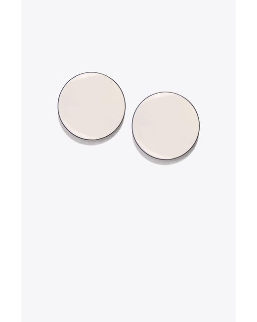 Tory Burch - White Disk Earring - Lyst