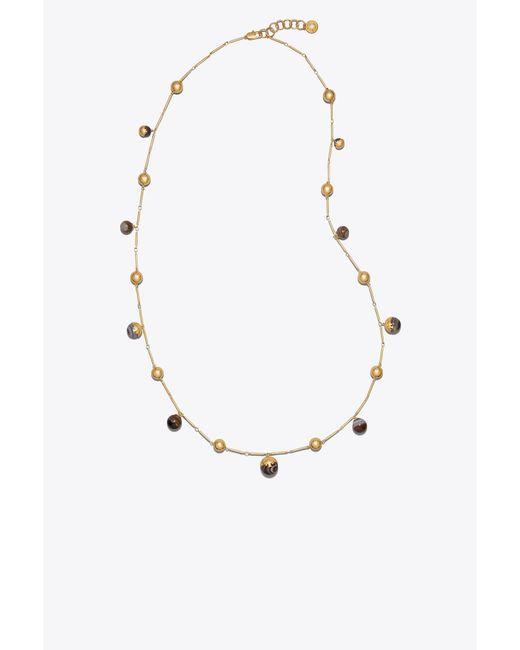 Tory Burch - Metallic Logo Bead Rosary - Lyst