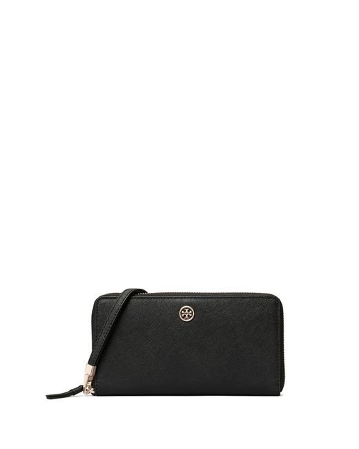 Tory Burch Black Robinson Zip Continental Wallet