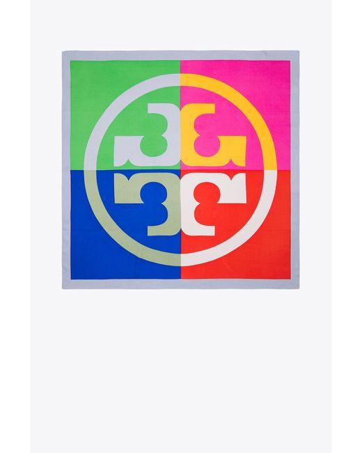 Tory Burch Multicolor Colorblock Logo Silk Square Scarf