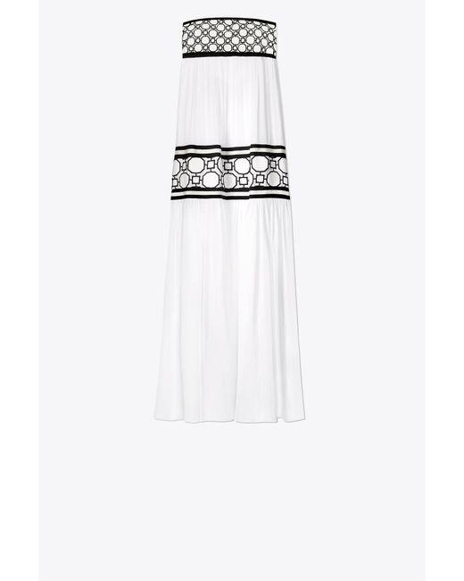 Christie Grosgrain And Guipure Lace-trimmed Silk-georgette Maxi Dress - White Tory Burch gPgDsz