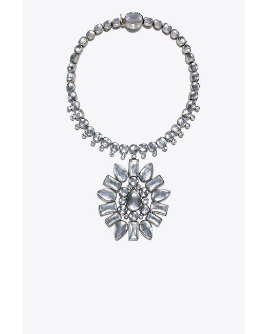 Tory Burch - Metallic Crystal Sunburst Pendant Necklace - Lyst