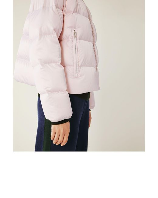 Tory Sport Cropped Performance Satin Down Jacket In Pink
