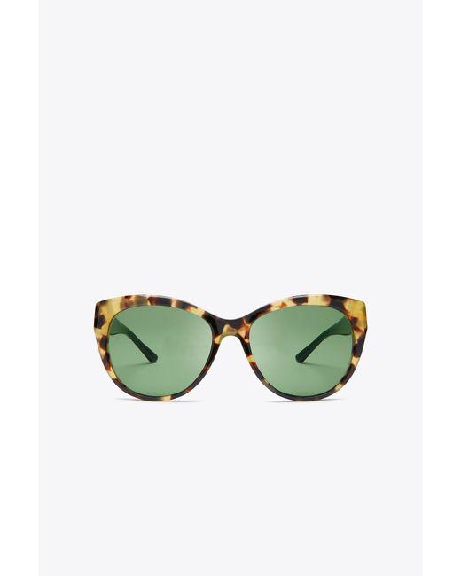 Tory Burch - Green Metal-ring Logo Cat-eye Sunglasses - Lyst