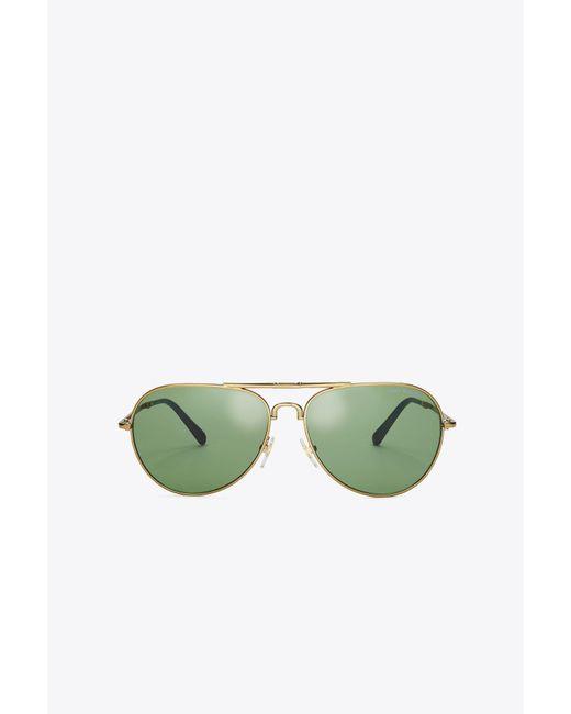 Tory Burch   Metallic Foldable Pilot Sunglasses   Lyst