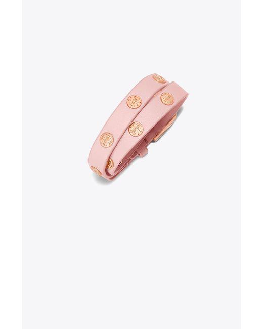 Tory Burch - Pink Double-wrap Logo Stud Bracelet - Lyst