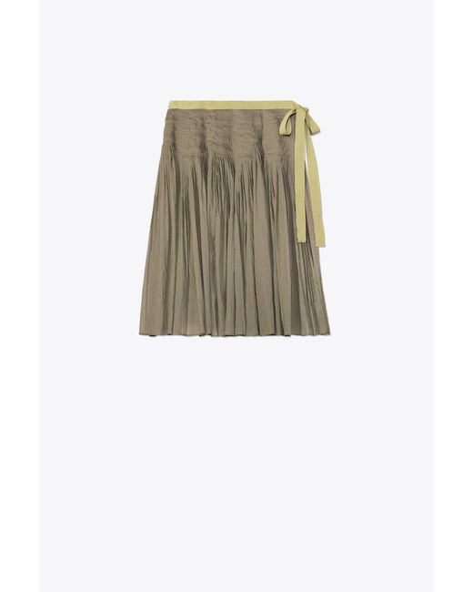Tory Burch - Multicolor Pleated Cotton Wrap Skirt - Lyst