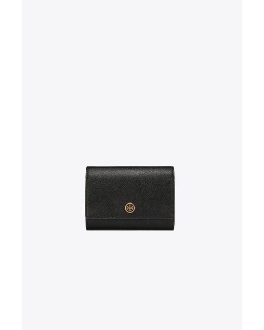 Tory Burch Black Robinson Medium Leather Wallet