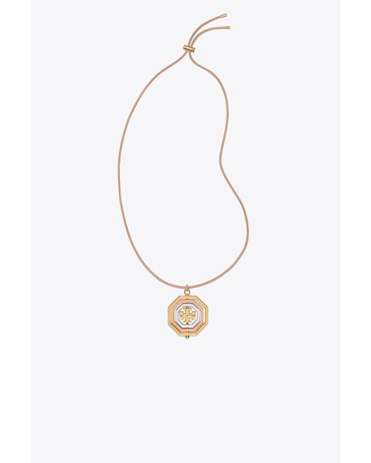 Tory Burch - Metallic Rotating Geo Pendant Necklace - Lyst