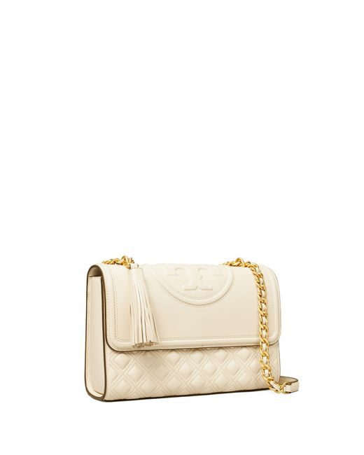 Tory Burch Natural Fleming Convertible Shoulder Bag In Beige New Cream Leather