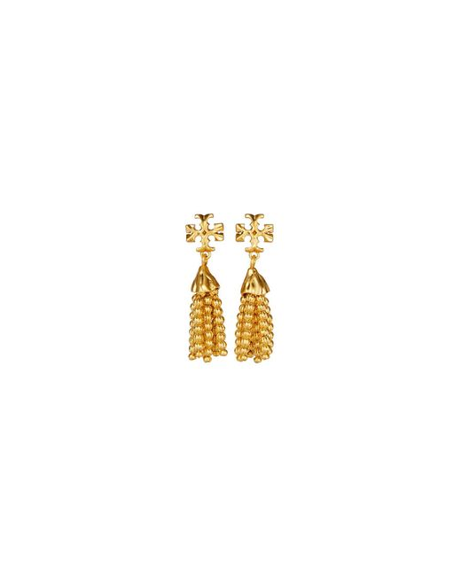 Tory Burch Metallic Logo Tassel Drop Earrings